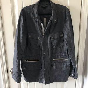 THEORY Linen Gray Blue Military Jacket